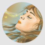 Chica de la fantasía pegatina redonda
