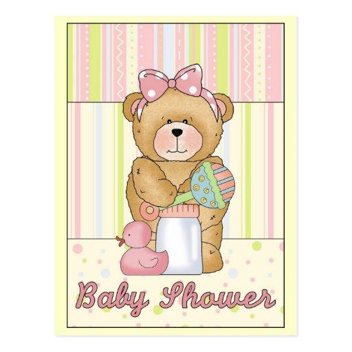 Chica de la fiesta de bienvenida al bebé tarjeta postal