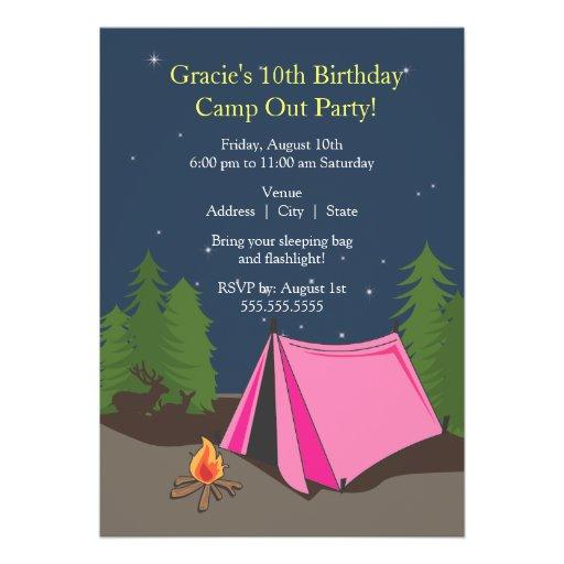 Chica de la fiesta de cumpleaños que acampa el | comunicados personalizados