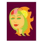 Chica de la fruta cítrica tarjetas postales