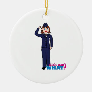 Chica de la fuerza aérea adorno navideño redondo de cerámica