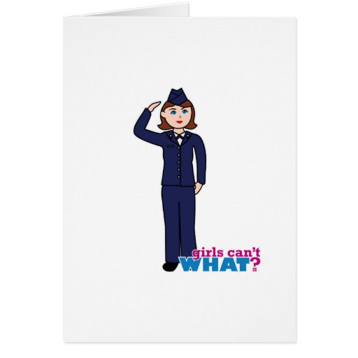 Chica de la fuerza aérea tarjeta de felicitación