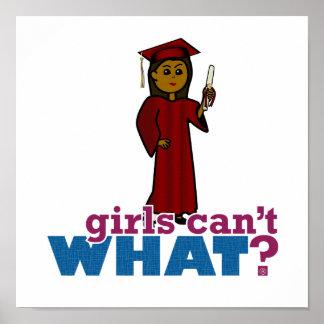 Chica de la graduación en rojo póster