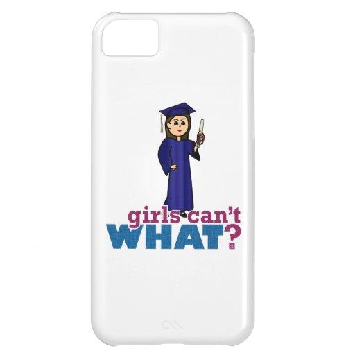 Chica de la graduación en vestido azul