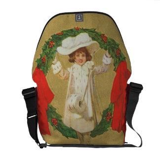 Chica de la guirnalda del navidad del vintage bolsa de mensajeria