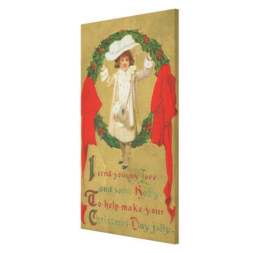 Chica de la guirnalda del navidad del vintage impresion en lona