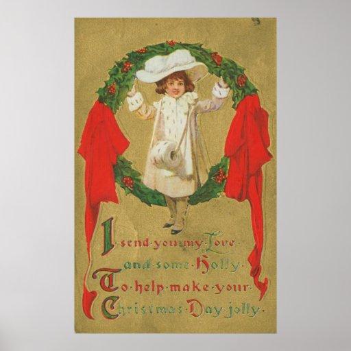 Chica de la guirnalda del navidad del vintage poster
