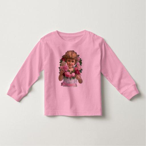 Chica de la guirnalda del rosa del Victorian Poleras