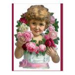 Chica de la guirnalda del rosa del Victorian Tarjeta Postal