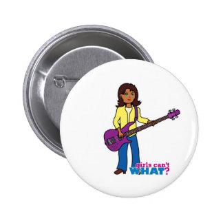 Chica de la guitarra baja pin redondo de 2 pulgadas