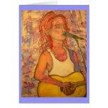 chica de la guitarra del feliz cumpleaños tarjeta de felicitación