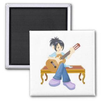 Chica de la guitarra imanes de nevera