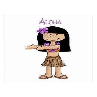 Chica de la hawaiana postales
