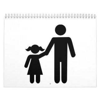 Chica de la hija del papá del padre calendario de pared