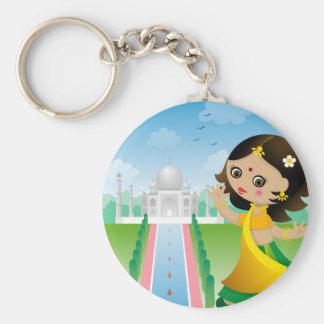 Chica de la India Llavero Redondo Tipo Pin