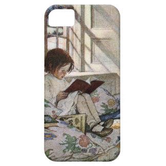 Chica de la lectura del vintage iPhone 5 coberturas