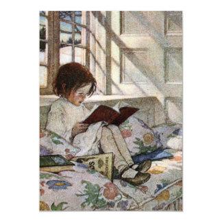 """Chica de la lectura del vintage invitación 5"""" x 7"""""""