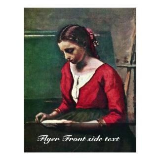 """Chica de la lectura en un jersey rojo del Jean-Bau Folleto 8.5"""" X 11"""""""