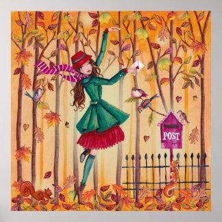 Chica de la letra de amor del otoño - poster