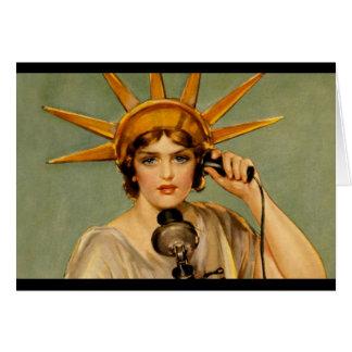 """Chica de la libertad - """"llámeme """" tarjeta de felicitación"""