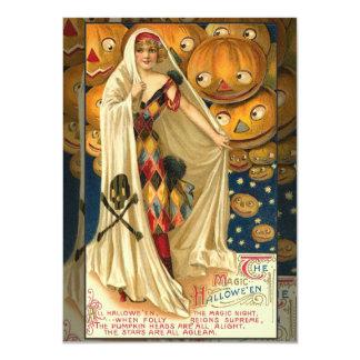 Chica de la linterna de Halloween Jack O del Invitación 11,4 X 15,8 Cm