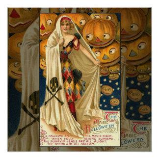 Chica de la linterna de Halloween Jack O del Perfect Poster