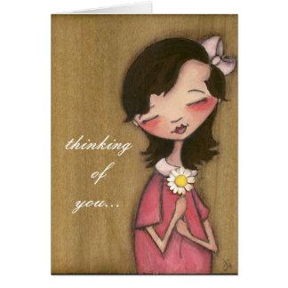 Chica de la margarita - pensando en usted - tarjeta de felicitación