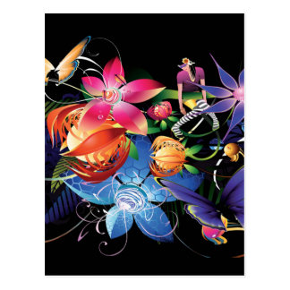 Chica de la mariposa de la flor tarjeta postal