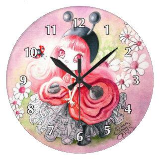 Chica de la mariquita reloj redondo grande
