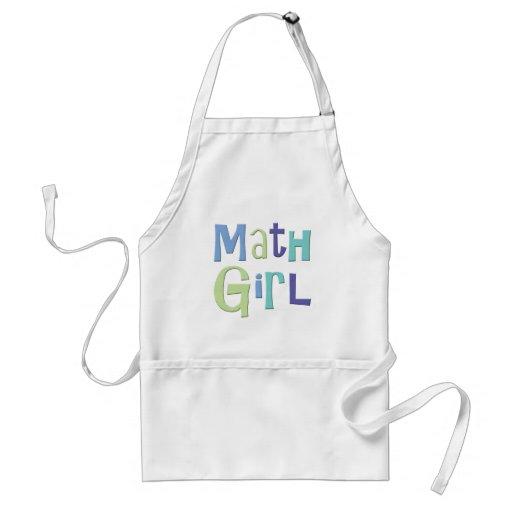 Chica de la matemáticas delantal