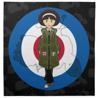Chica de la MOD de los años 60 en abrigo esquimal Servilleta