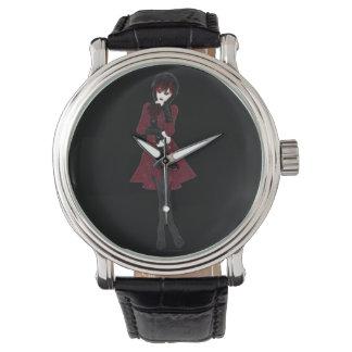 Chica de la moda de Steampunk en pantalones negros Relojes De Pulsera