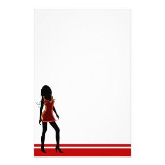 Chica de la moda en papel de escribir rojo de los personalized stationery
