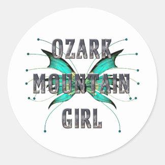 Chica de la montaña de Ozark de la CAMISETA Pegatina Redonda