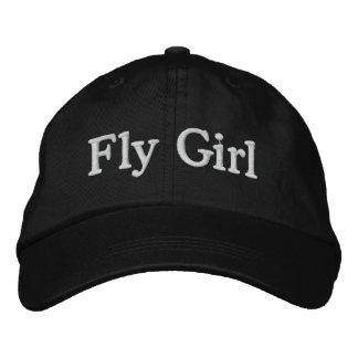 Chica de la mosca gorros bordados