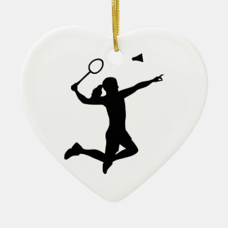 Chica de la mujer del bádminton adorno navideño de cerámica en forma de corazón