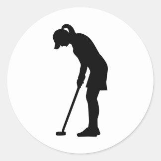 Chica de la mujer del golf pegatina redonda