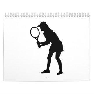 Chica de la mujer del tenis calendarios de pared