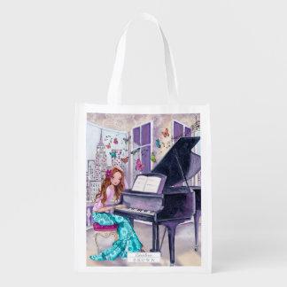 Chica de la música de la mariposa del piano - bolsas de la compra