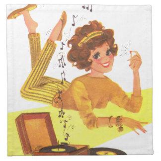 chica de la música de los años 60 servilletas imprimidas