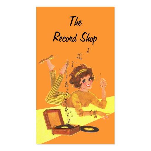 Chica de la música del vintage plantillas de tarjetas de visita