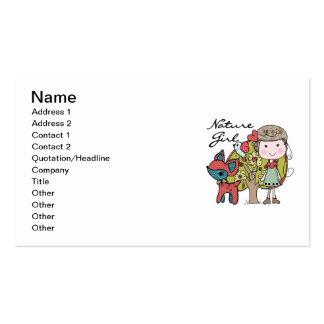 Chica de la naturaleza tarjetas de visita
