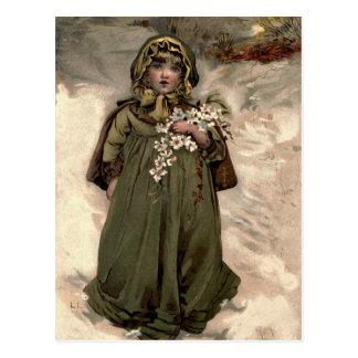 Chica de la nieve del invierno del vintage postal