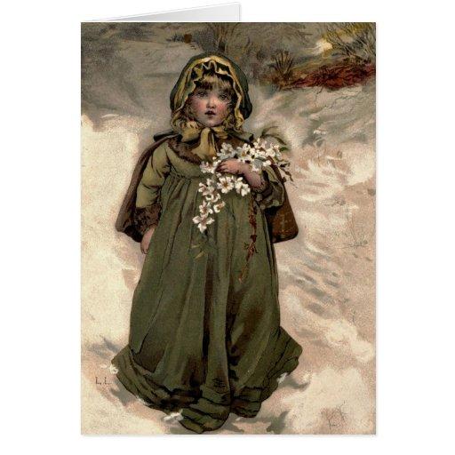 Chica de la nieve del invierno del vintage tarjeta de felicitación