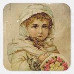 Chica de la nieve del Victorian con los rosas Colcomanias Cuadradas Personalizadas