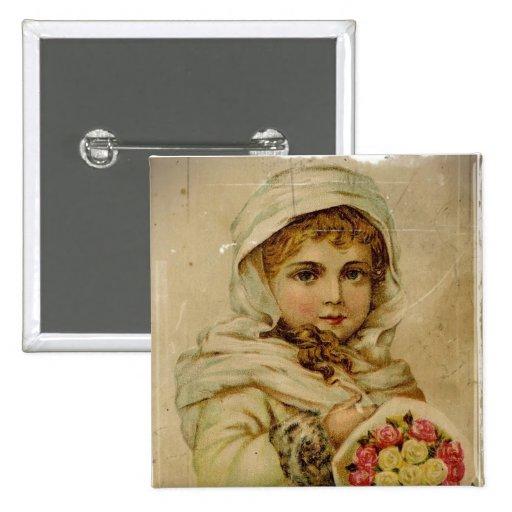 Chica de la nieve del Victorian con los rosas Pin