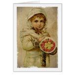 Chica de la nieve del Victorian con los rosas Tarjeta