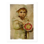 Chica de la nieve del Victorian con los rosas Postal