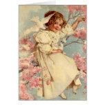 Chica de la paloma del vintage - tarjeta