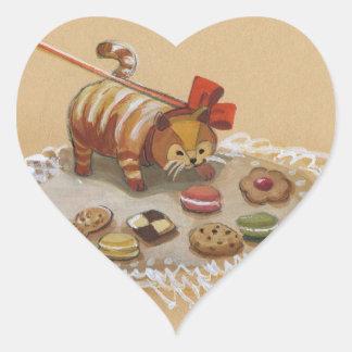 Chica de la parte alta y su gato Kookie Pegatina En Forma De Corazón